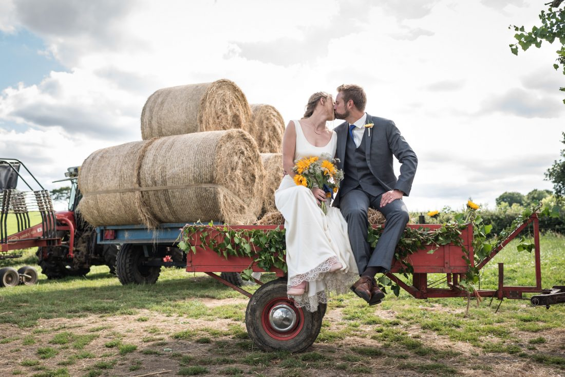 tractor hay bales farm wedding
