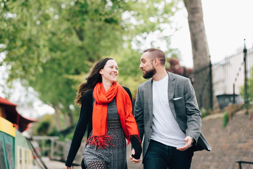 couple laughing together paddington engagement photography