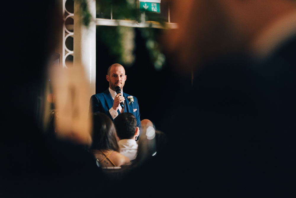 Groom gives wedding speech at syon park