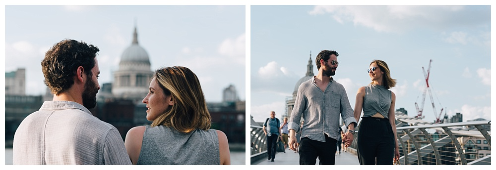 St Paul's Cathedral backdrop and the millenium bridge on Southbank engagement shoot