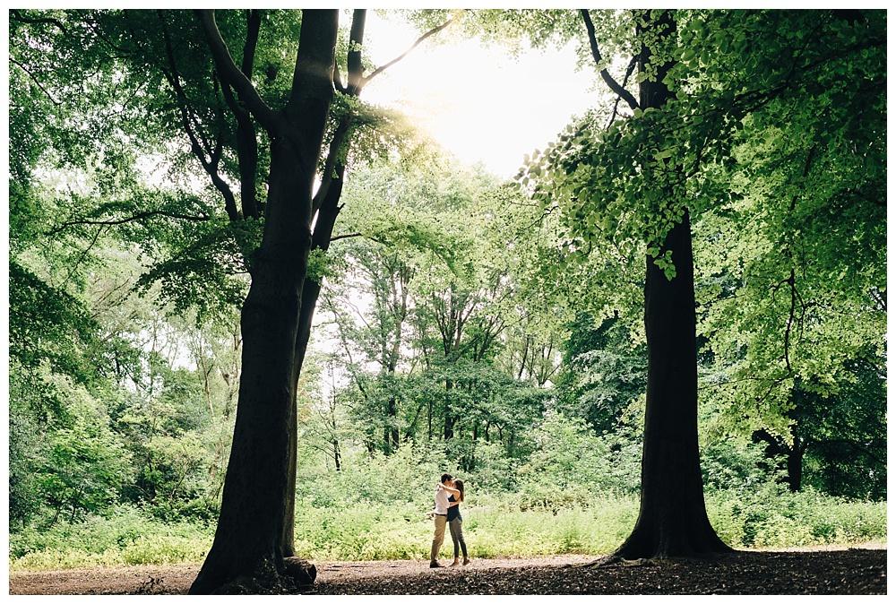 london park engagement trees woodland