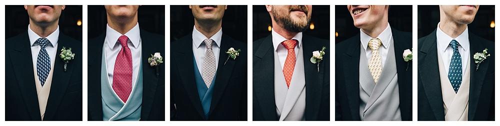 Groomsmen's bow ties and waistcoats