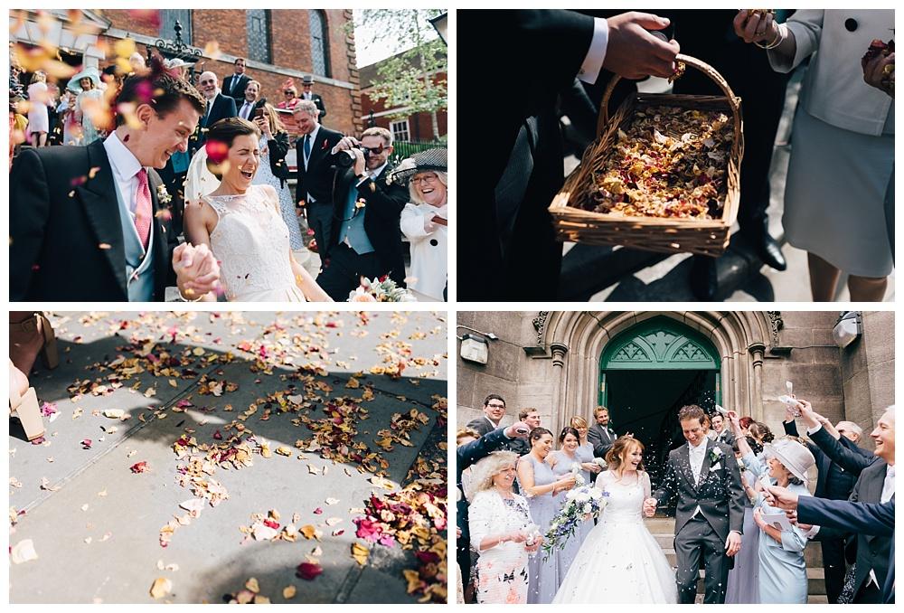 Wedding day confetti photos