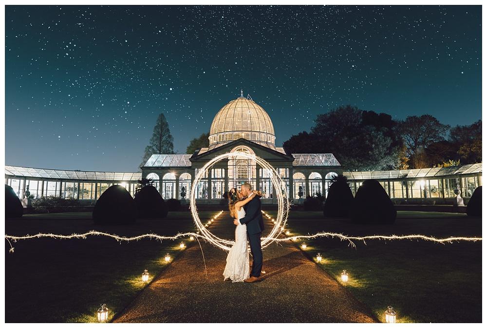 Wedding day sneak out sparkler portrait at night