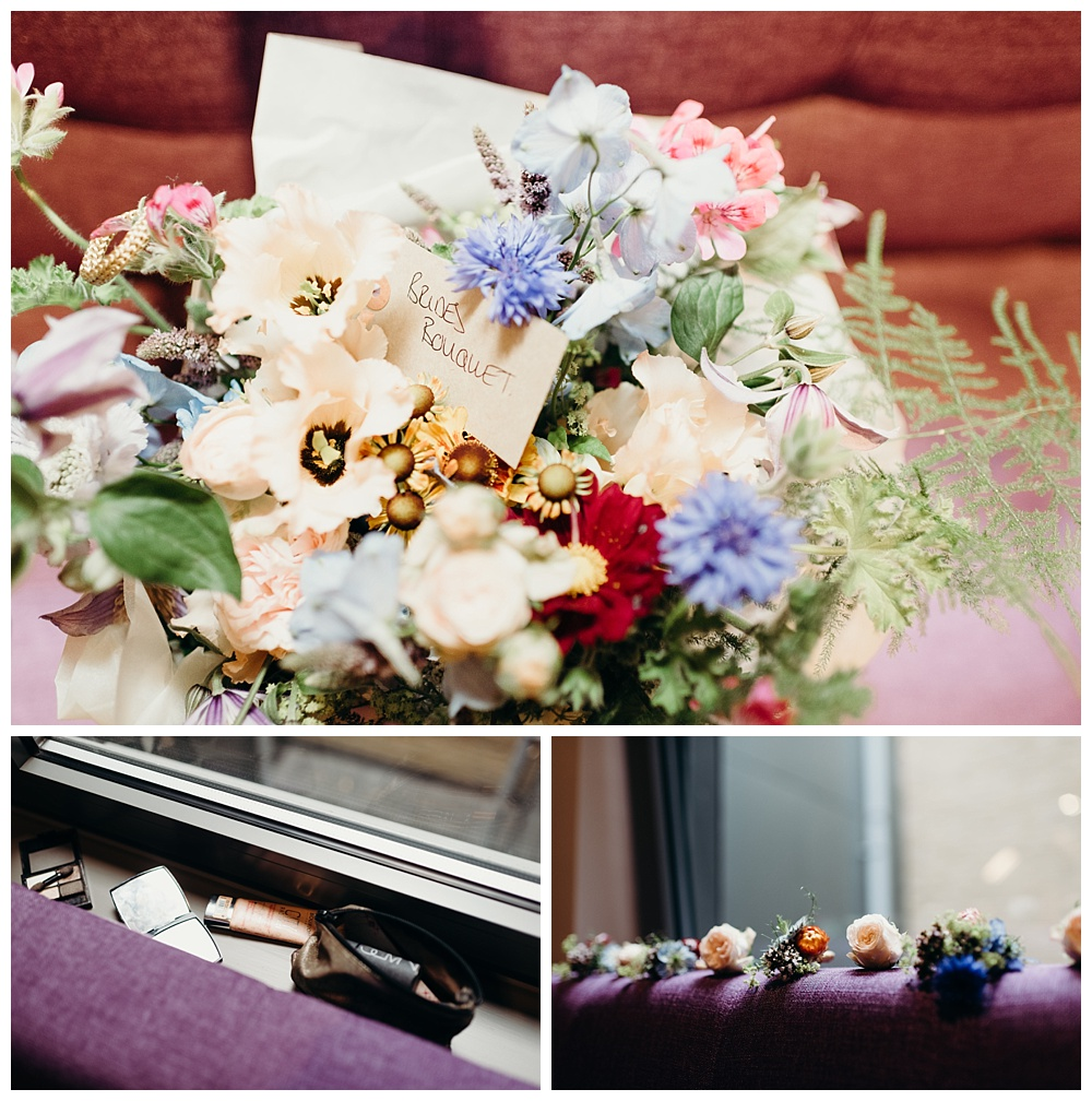 Courthouse hotel bridal prep bouquet