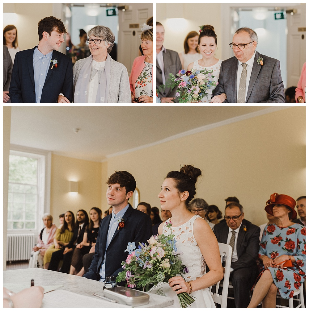 Bride and groom during their wedding ceremony at clissold house