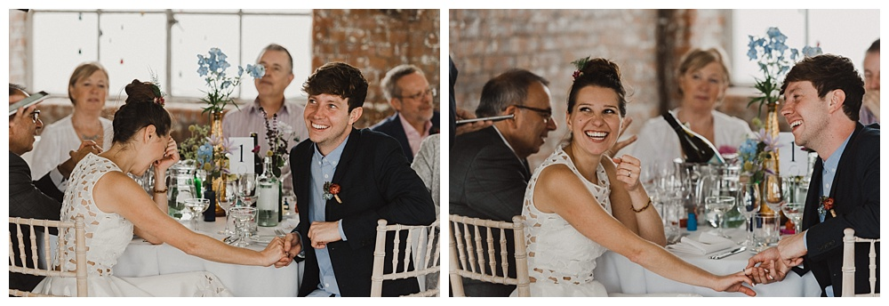 Bride and groom during speeches east london wedding photography