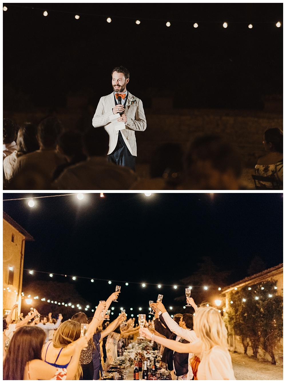 Groom's speech and toasts at italian wedding in tuscany