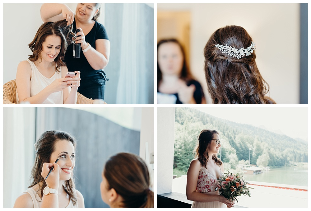 Bride gets ready for wedding in Garmisch Partenkirchen