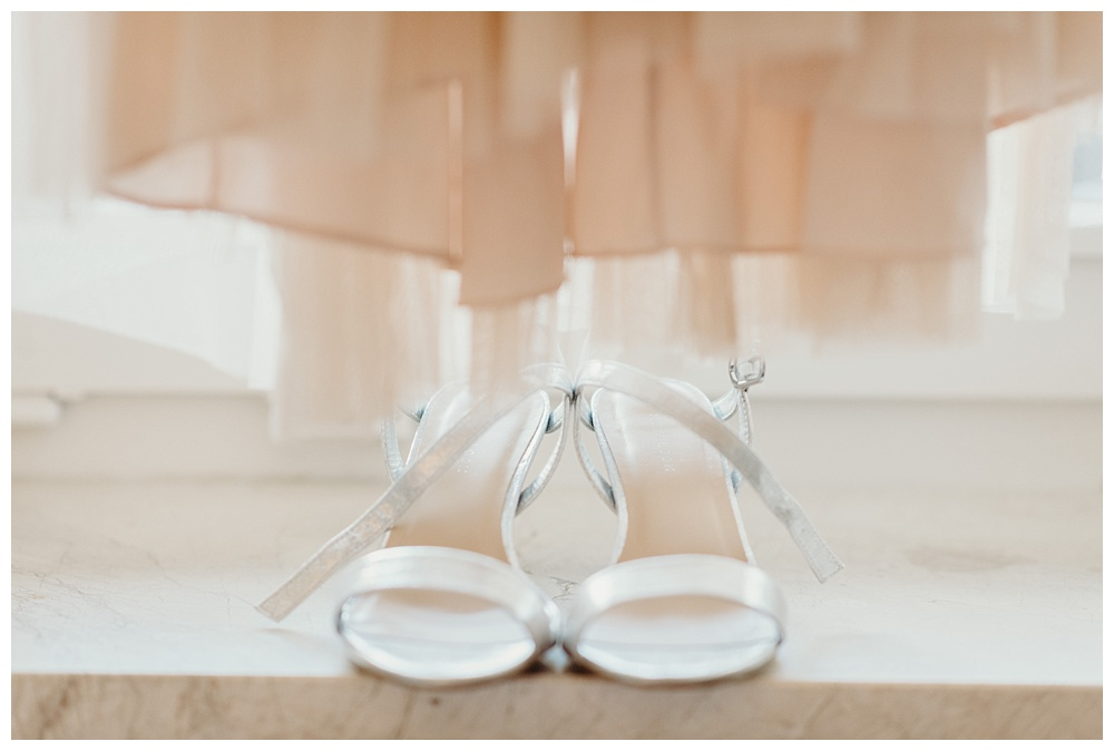 Bride's dress and shoes for her wedding in Bavaria