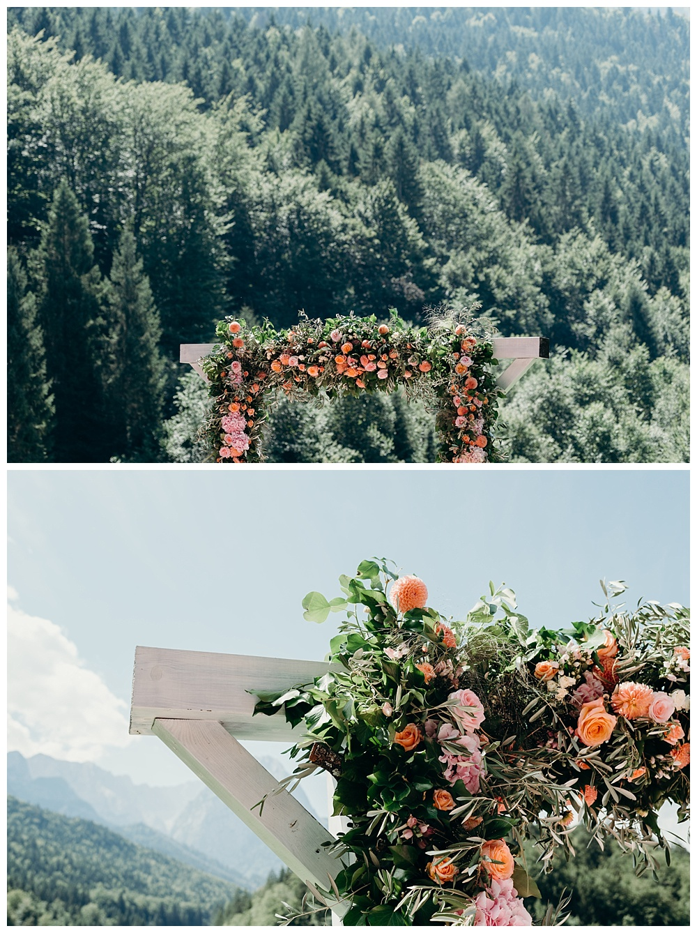 Alpine wedding ceremony flower arch
