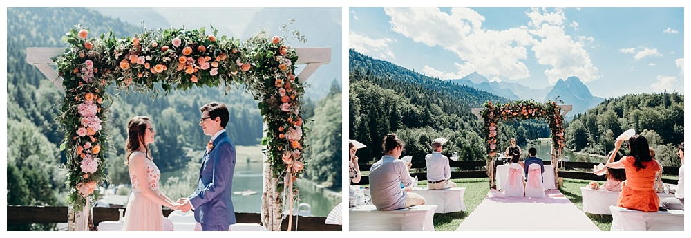 Bavarian wedding on a hillside