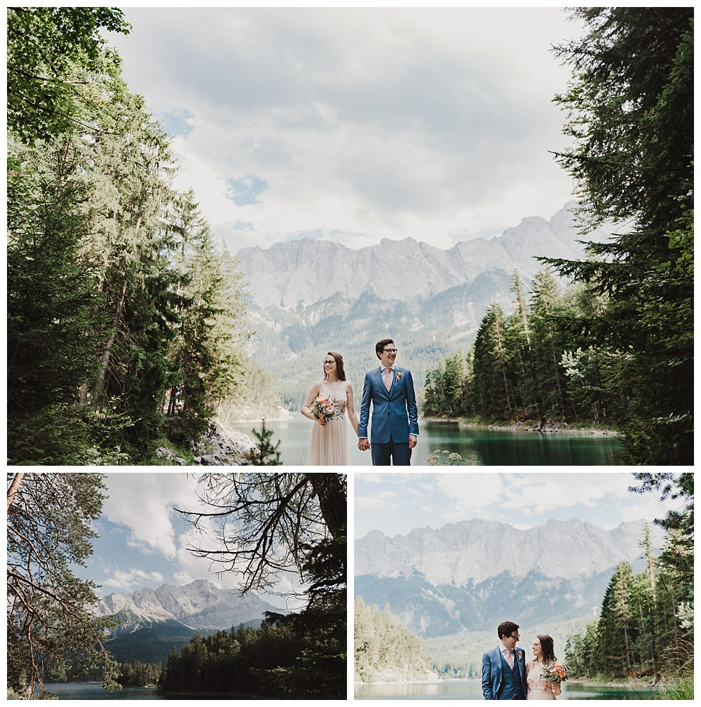 Lake Eibsee wedding portraits after Bavarian wedding