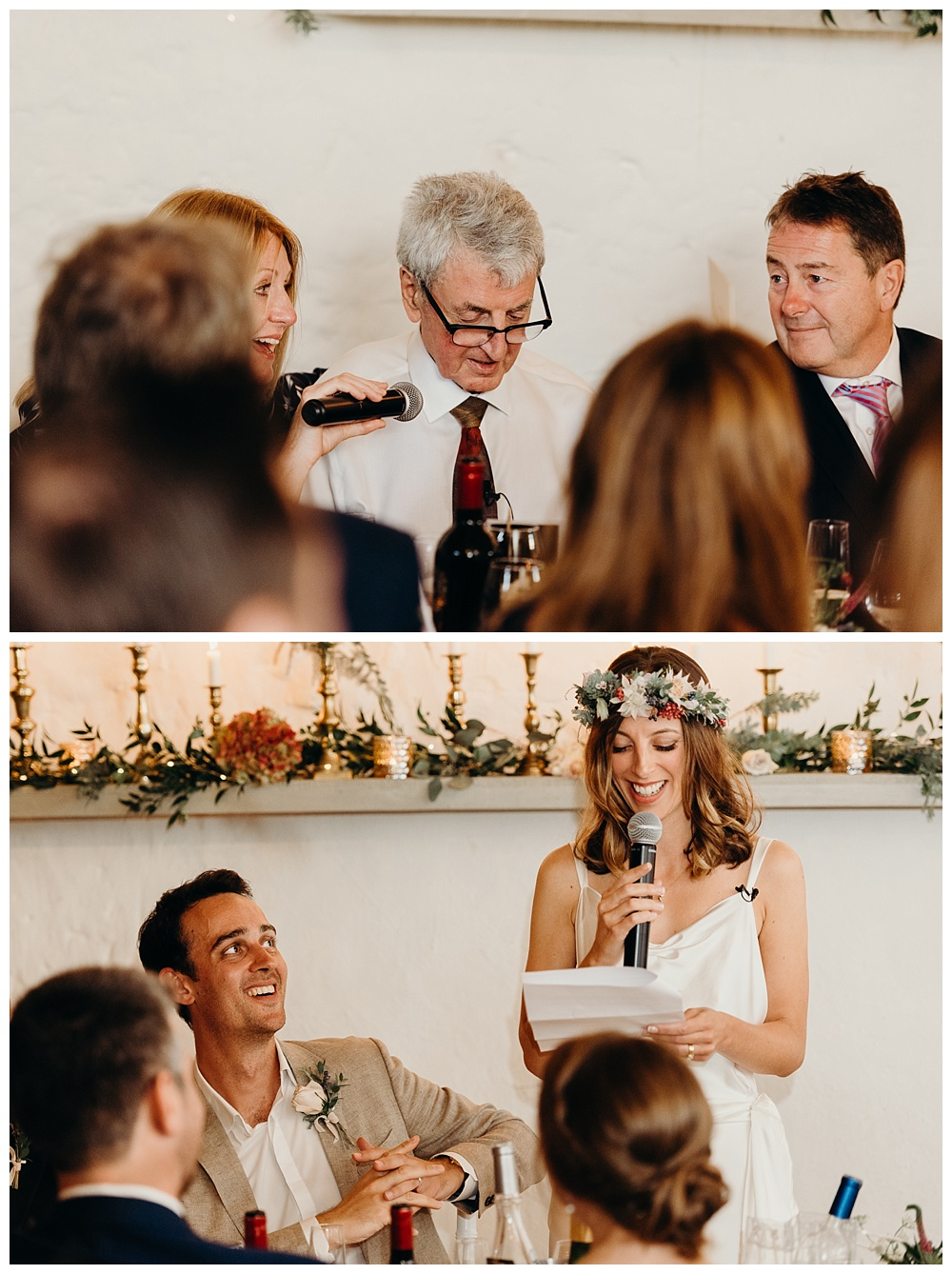 Bordeaux wedding photographer - father of the bride and the bride give speeches