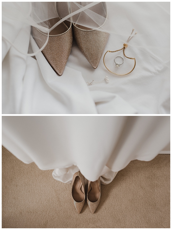 Bridal dress, shoes and jewellery. Surrey Wedding Photographer.