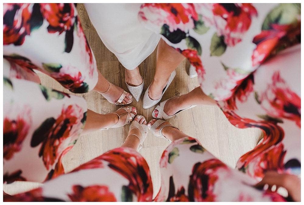 Bride and bridesmaid shoes.