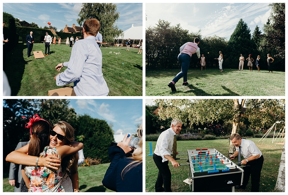 Sports and activities at a summer wedding in Alveston Pastures Farm.