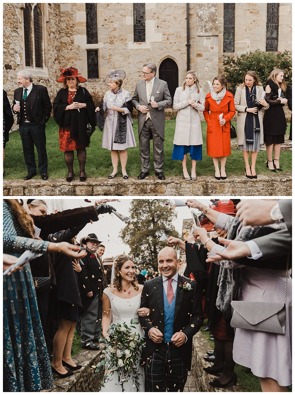 Couple get showered with confetti after their Chiddingfold wedding.