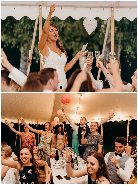 Wedding speeches at a summer marquee wedding!
