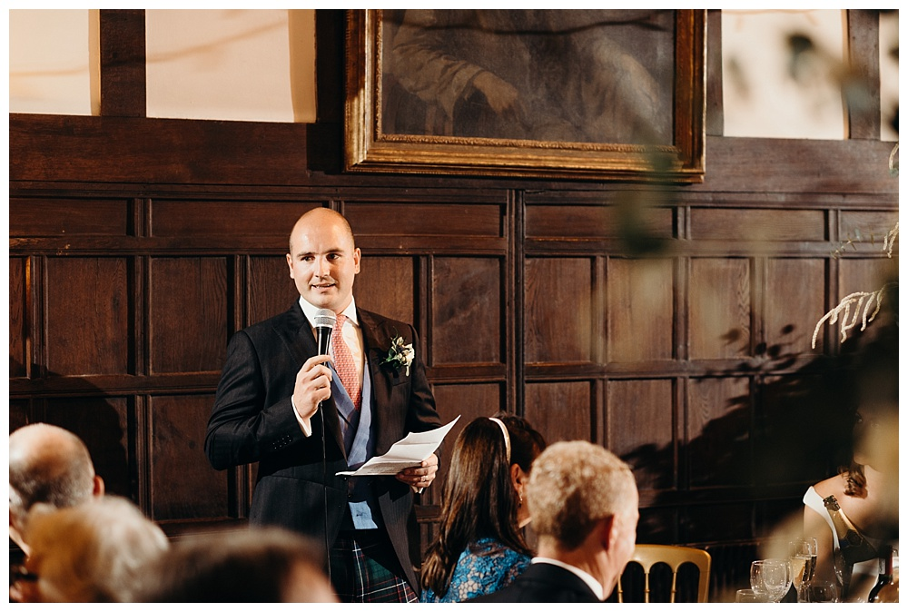 Speeches at Ramster Hall wedding.