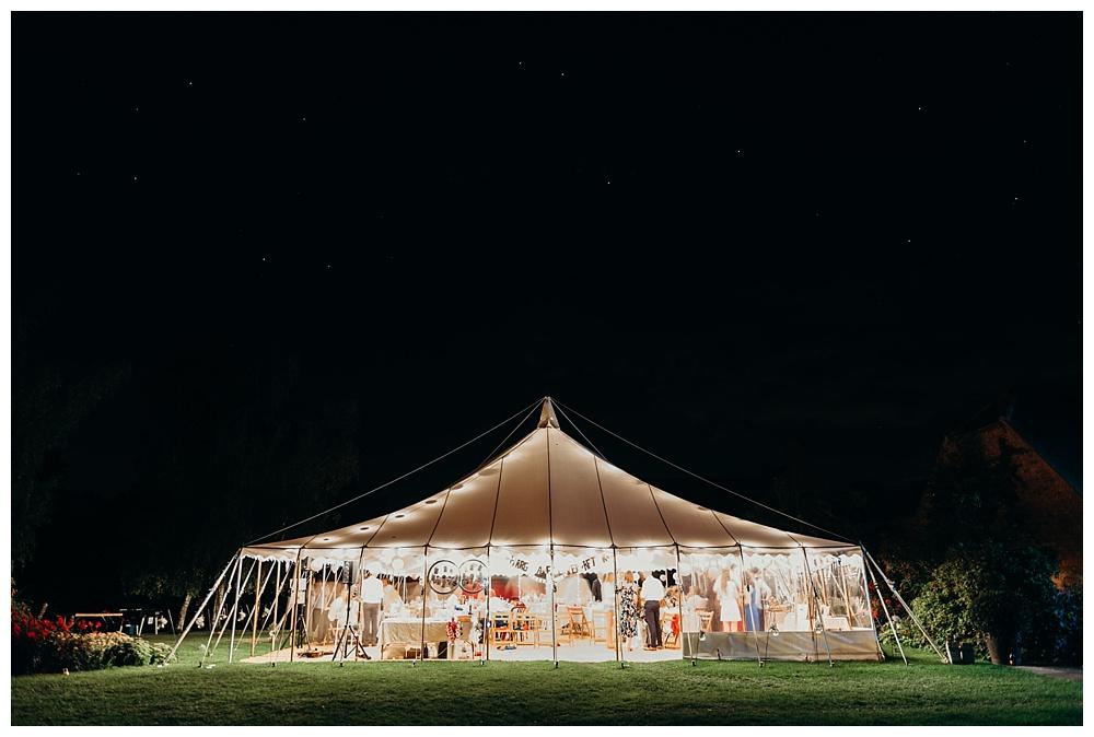 Wedding marquee at night - Alveston Pastures Farm.