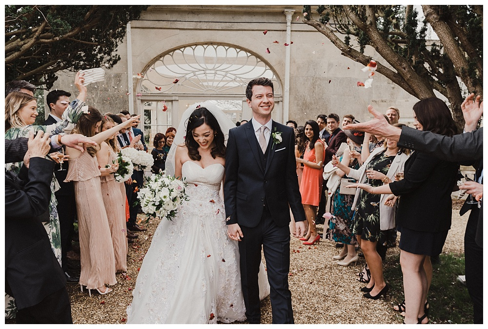 Wil Patrick Wedding Photography Confetti Shower Barton Hall Orangery