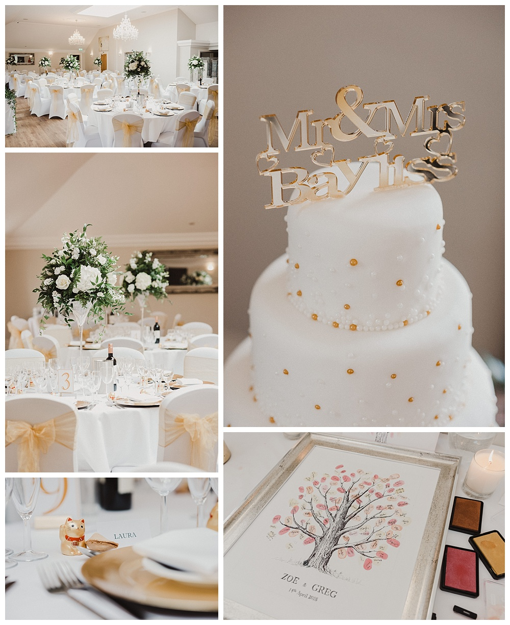 Barton Hall White and Gold Wedding Decor and Cake