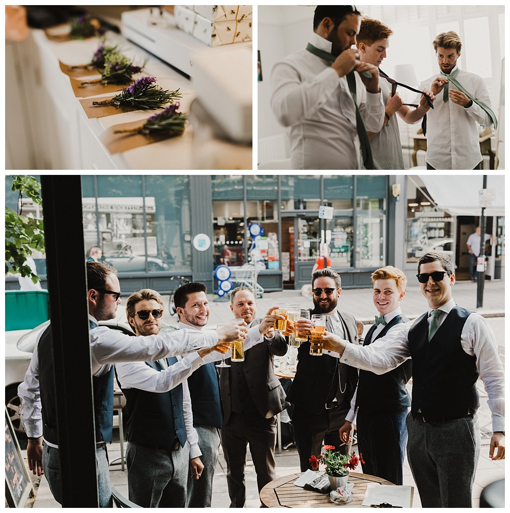 Groomsmen share a pint before the wedding