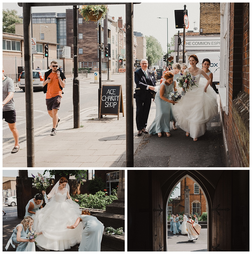 Bride and her bridesmaids walk through South London to the church