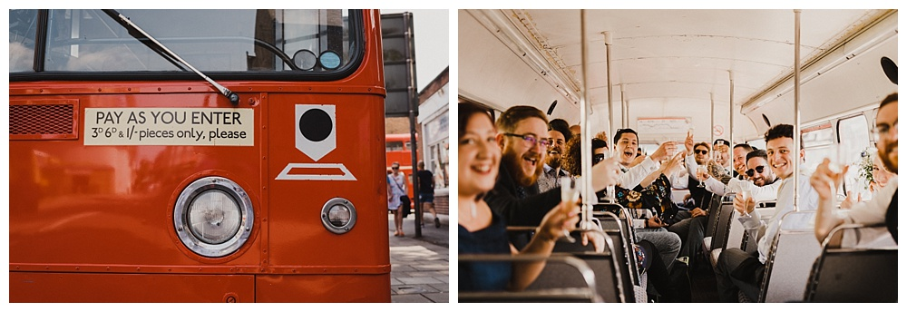 Retro Double-Decker bus wedding transport
