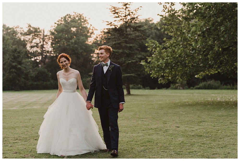 Bride and groom golden hour portrait Morden Hall south London