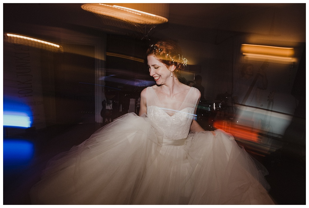 Bride dancing at Morden Hall Will Patrcik Wedding Photogrpahy
