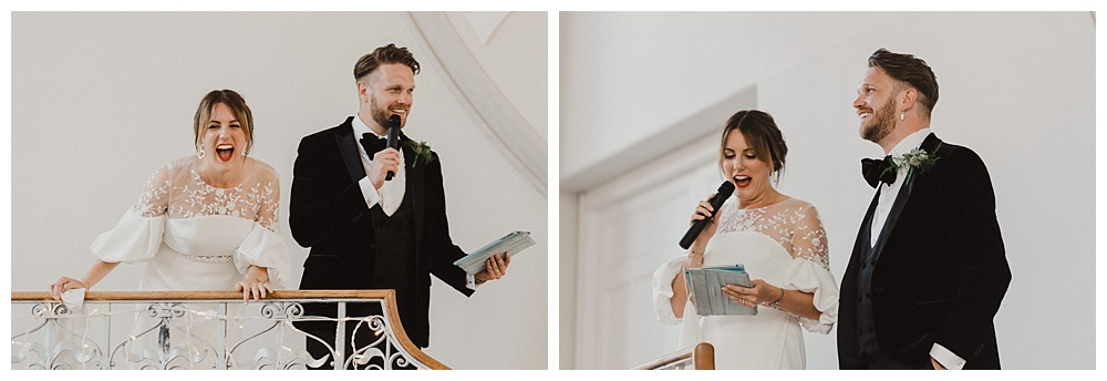 Bride and Groom giving wedding speech