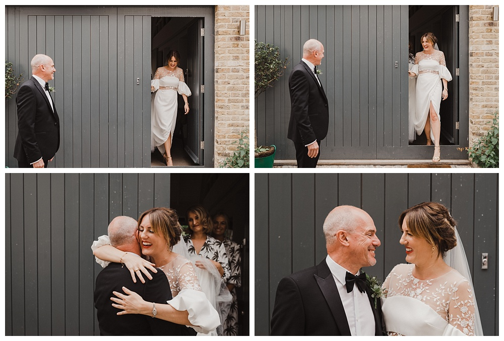 Father of the bride sees daughter in her wedding dress for the first time