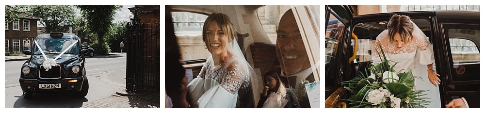 Bride and bridesmaids travel to London wedding in black cab